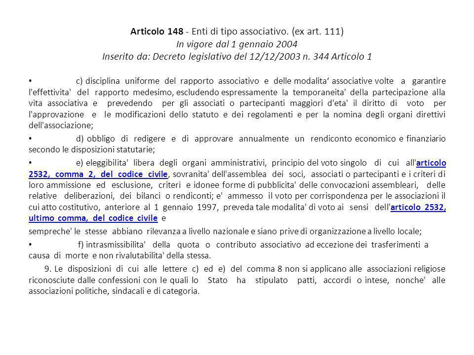 Articolo 148 - Enti di tipo associativo. (ex art