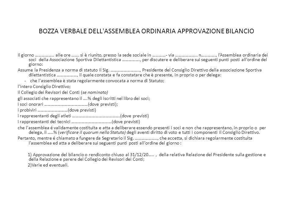 BOZZA VERBALE DELL ASSEMBLEA ORDINARIA APPROVAZIONE BILANCIO