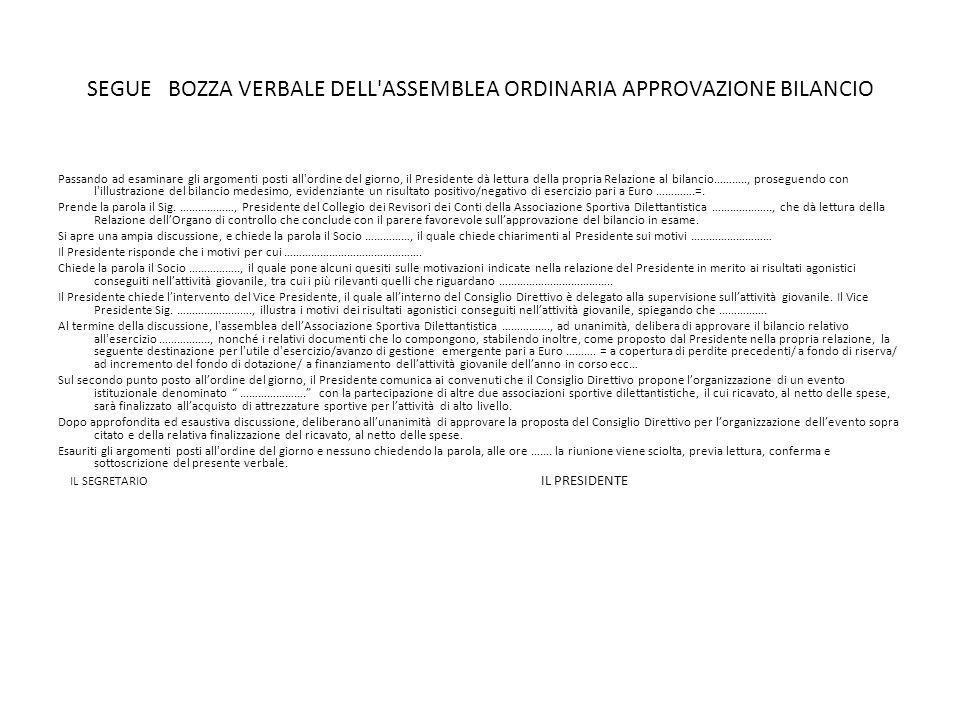 SEGUE BOZZA VERBALE DELL ASSEMBLEA ORDINARIA APPROVAZIONE BILANCIO