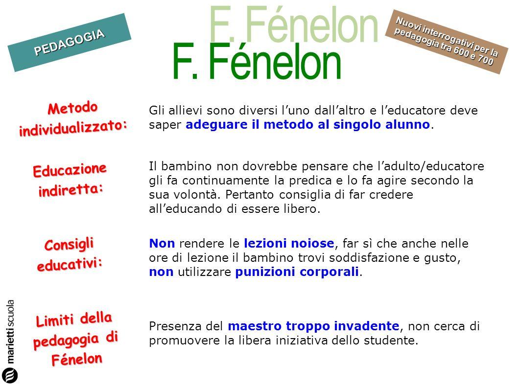 F. Fénelon Metodo individualizzato: Educazione indiretta: