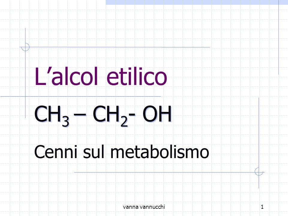 L'alcol etilico CH3 – CH2- OH Cenni sul metabolismo vanna vannucchi