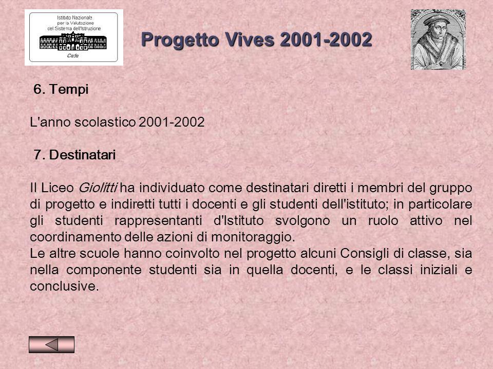 Progetto Vives 2001-2002 6. Tempi L anno scolastico 2001-2002