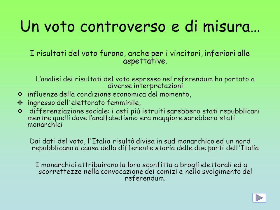 Un voto controverso e di misura…