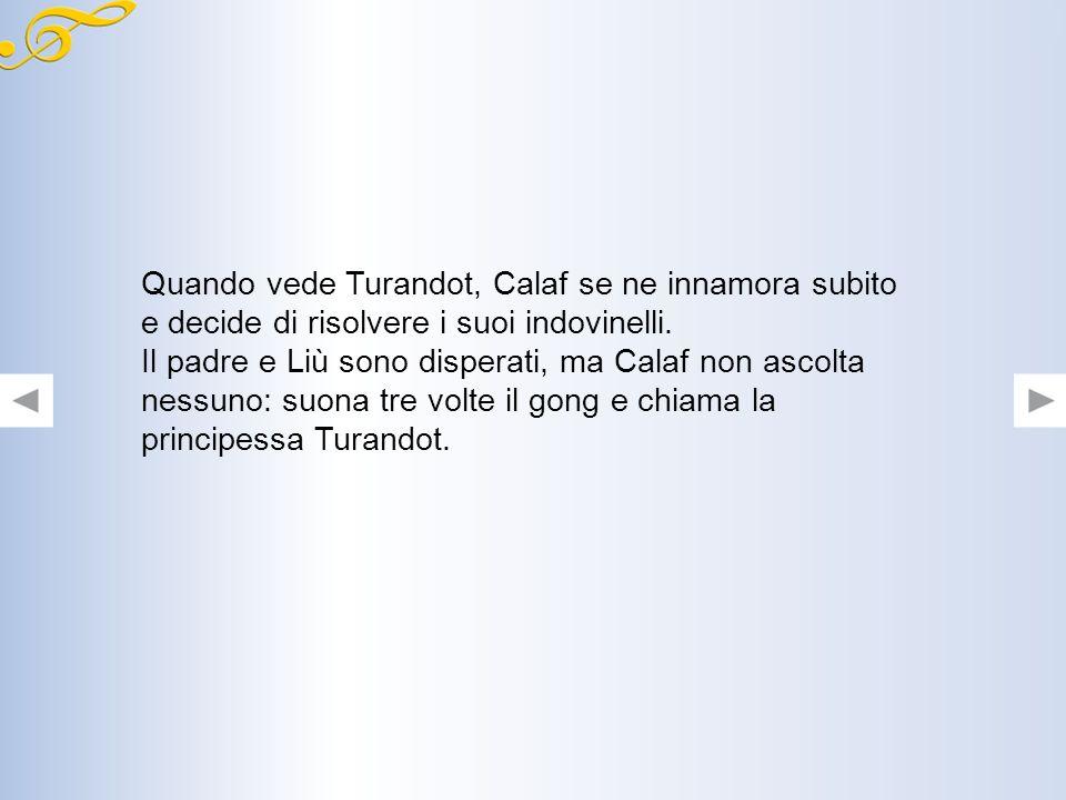 Quando vede Turandot, Calaf se ne innamora subito e decide di risolvere i suoi indovinelli.