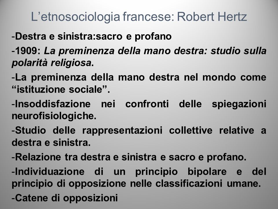 L'etnosociologia francese: Robert Hertz