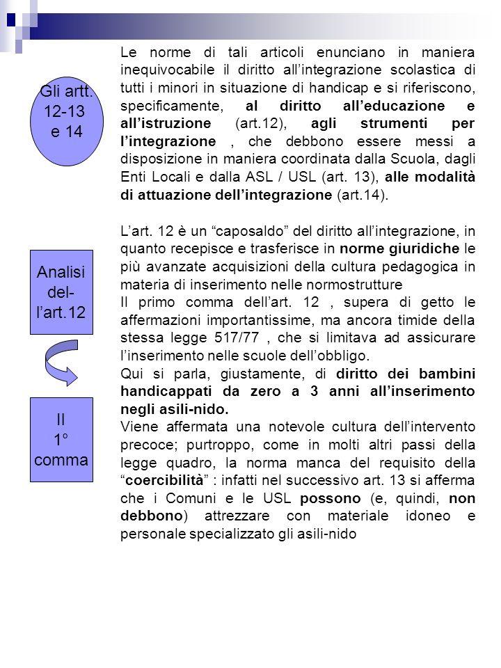 Gli artt. 12-13 e 14 Analisi del- l'art.12 Il 1° comma