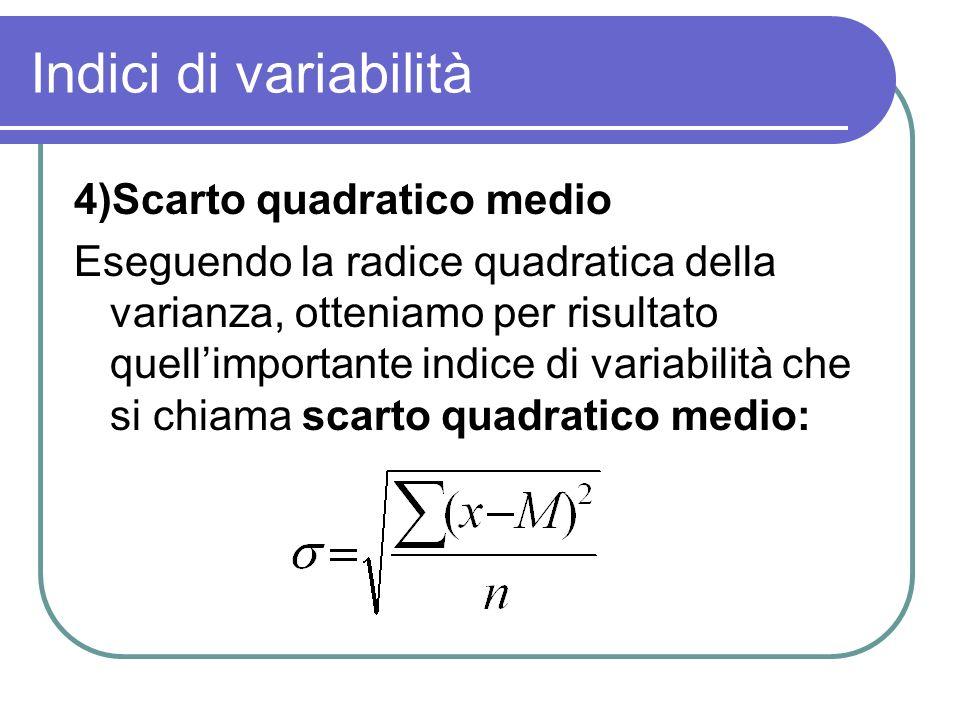 Indici di variabilità 4)Scarto quadratico medio