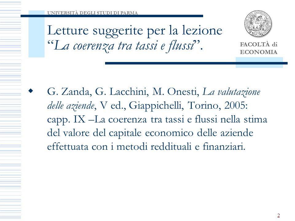 Letture suggerite per la lezione La coerenza tra tassi e flussi .