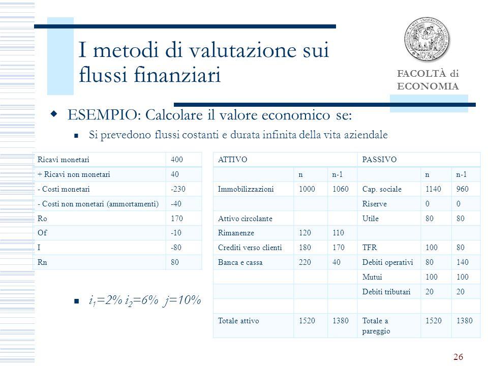 I metodi di valutazione sui flussi finanziari