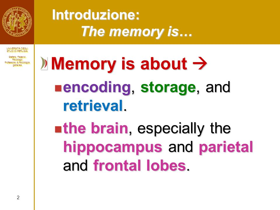 Introduzione: The memory is…
