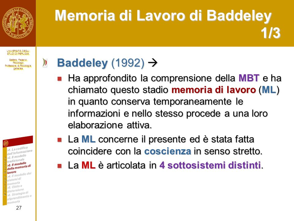 Memoria di Lavoro di Baddeley 1/3