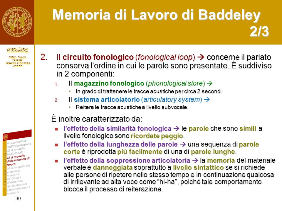 Memoria di Lavoro di Baddeley 2/3