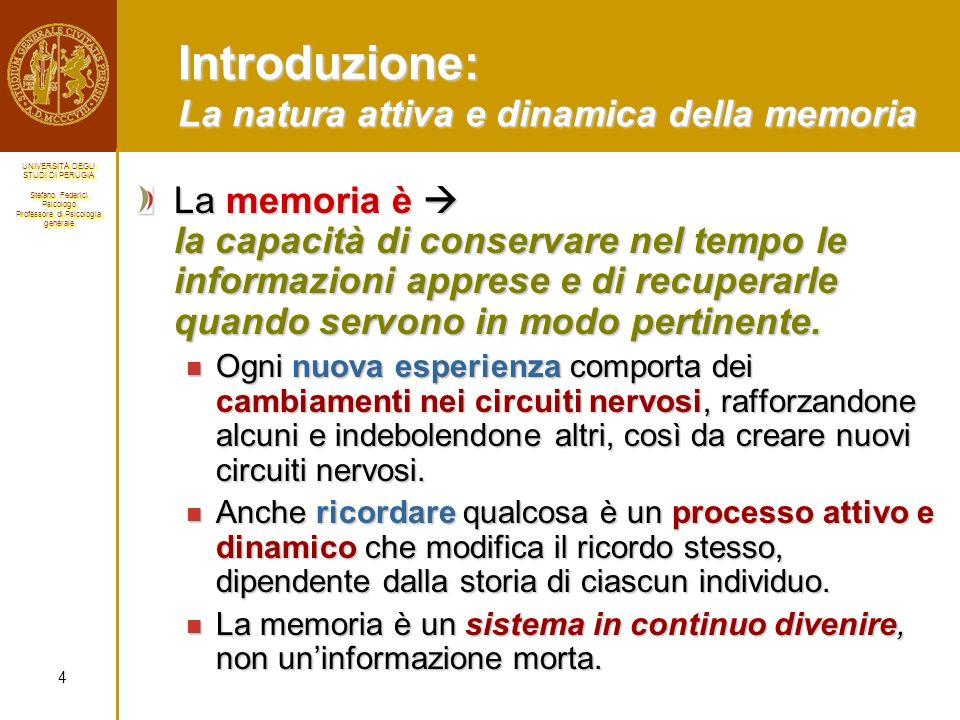 Introduzione: La natura attiva e dinamica della memoria