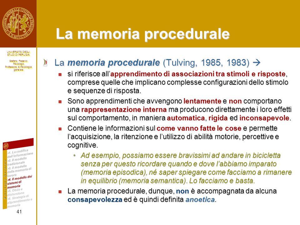 La memoria procedurale