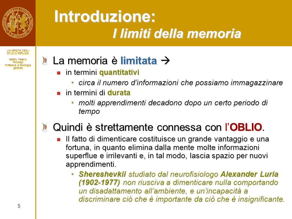 Introduzione: I limiti della memoria