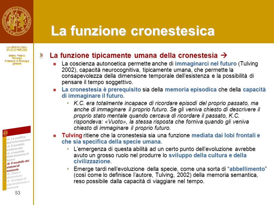 La funzione cronestesica