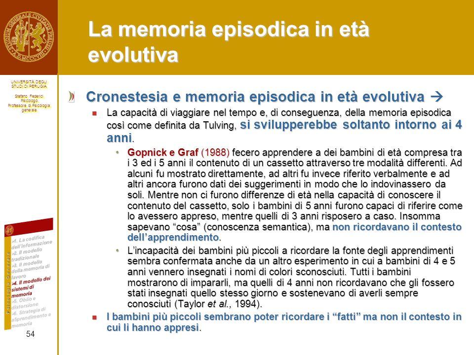 La memoria episodica in età evolutiva