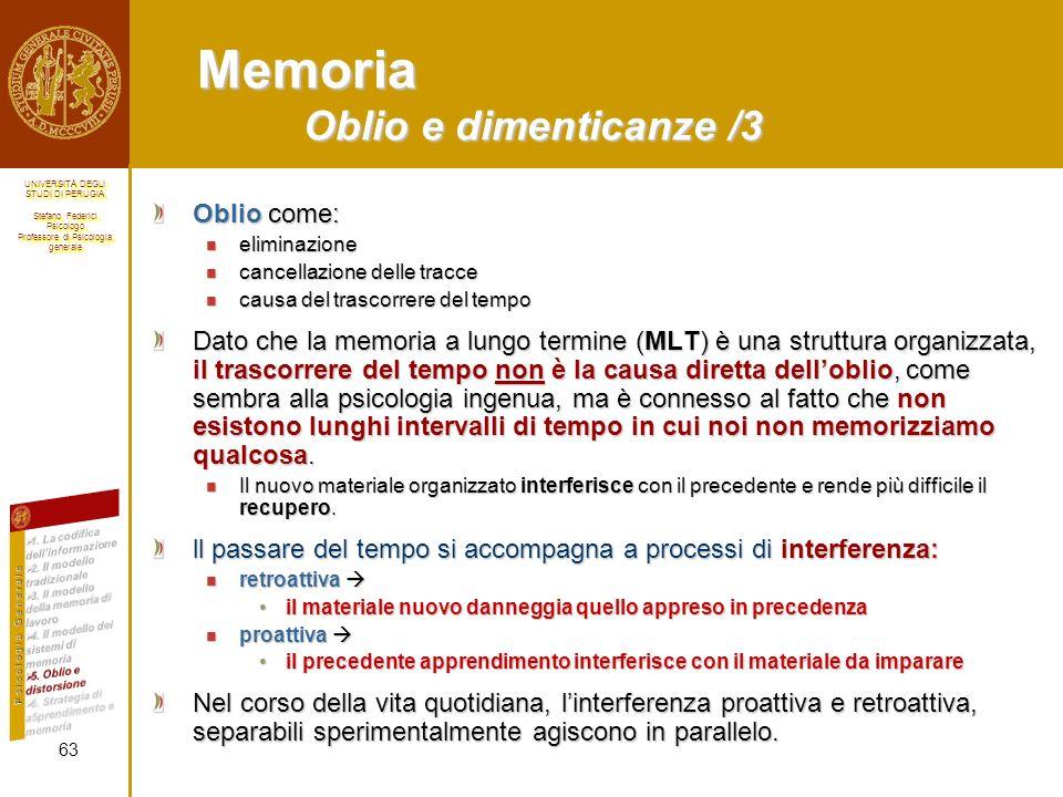 Memoria Oblio e dimenticanze /3