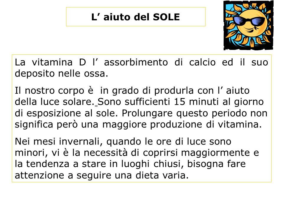 L' aiuto del SOLE La vitamina D l' assorbimento di calcio ed il suo deposito nelle ossa.