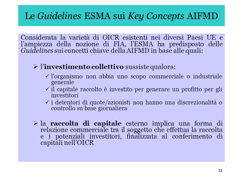 Le Guidelines ESMA sui Key Concepts AIFMD