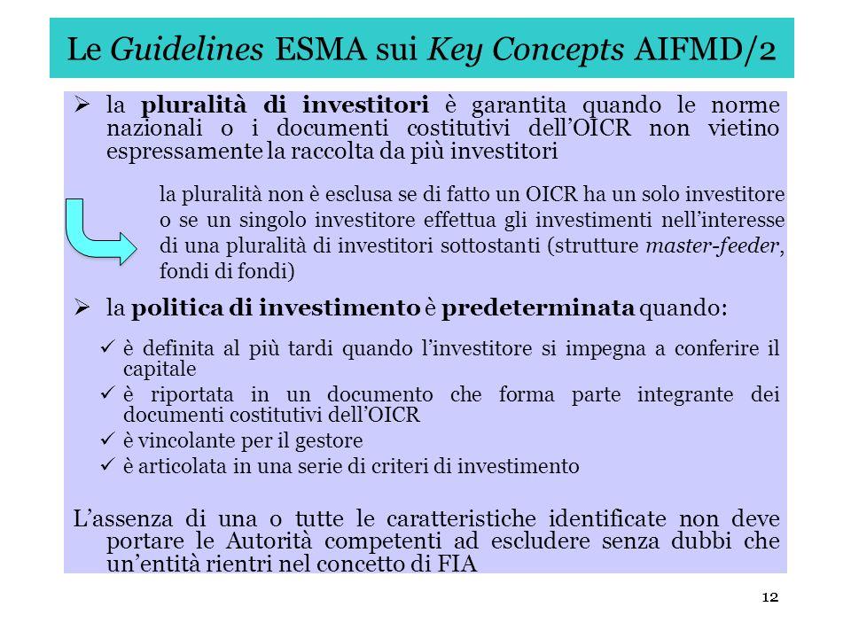Le Guidelines ESMA sui Key Concepts AIFMD/2