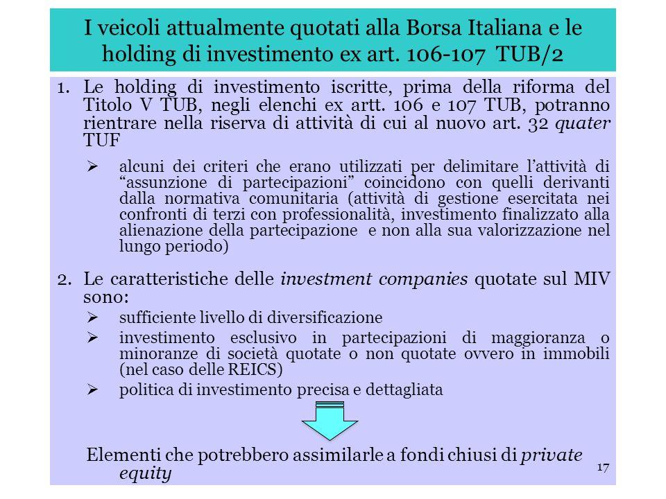 I veicoli attualmente quotati alla Borsa Italiana e le holding di investimento ex art. 106-107 TUB/2