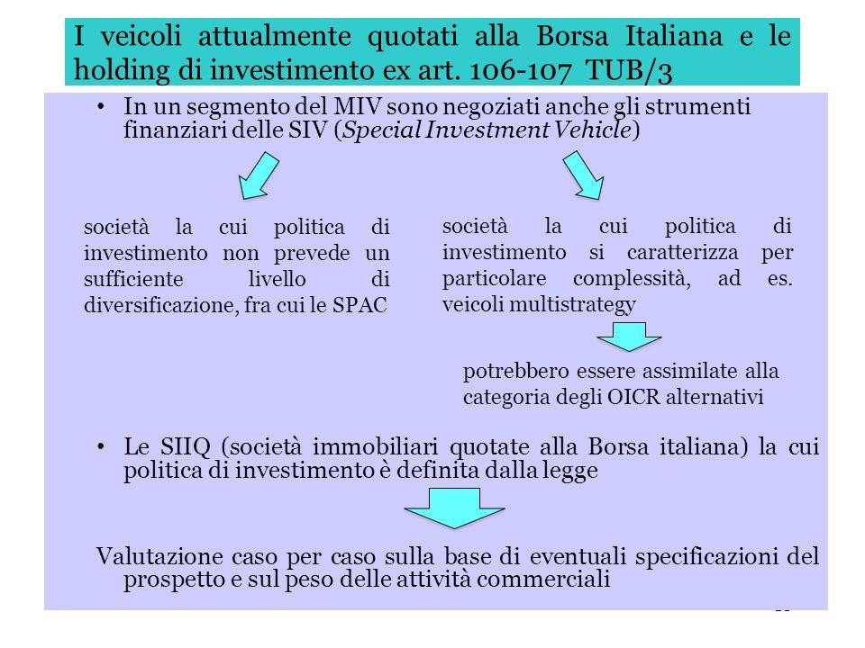 I veicoli attualmente quotati alla Borsa Italiana e le holding di investimento ex art. 106-107 TUB/3