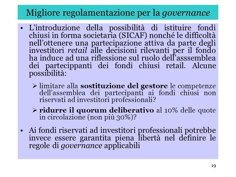 Migliore regolamentazione per la governance