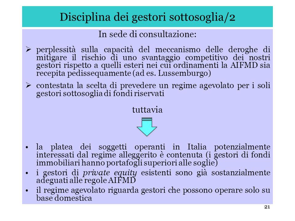 Disciplina dei gestori sottosoglia/2