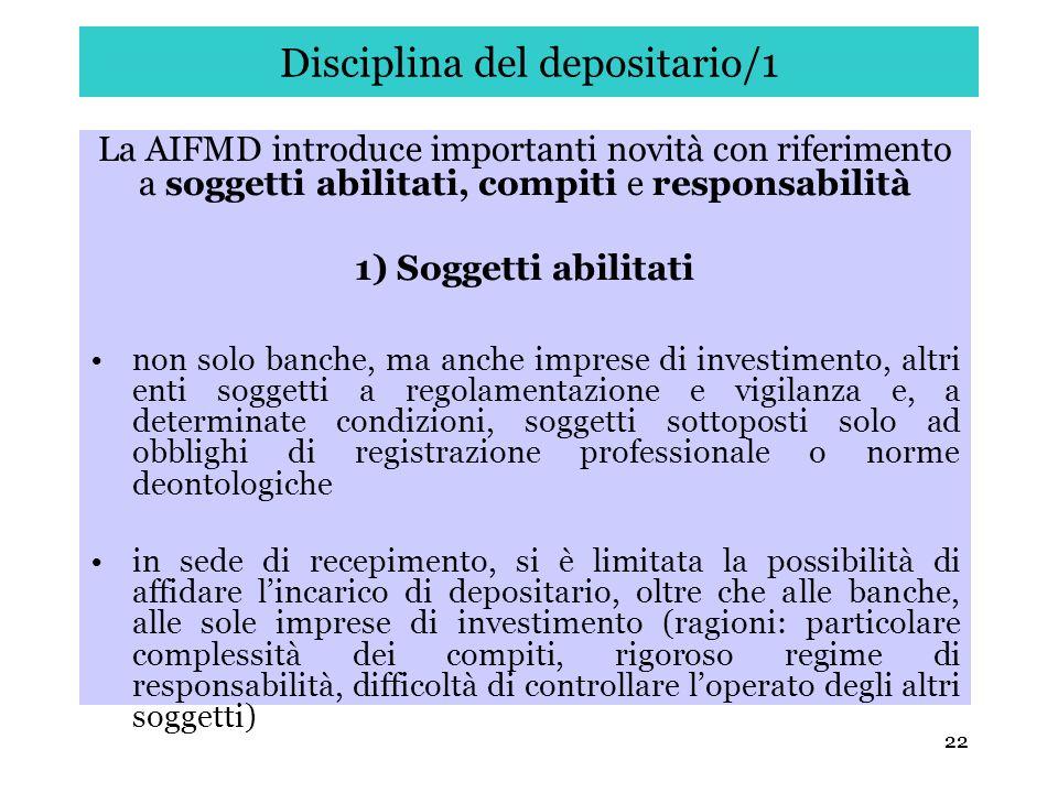 Disciplina del depositario/1