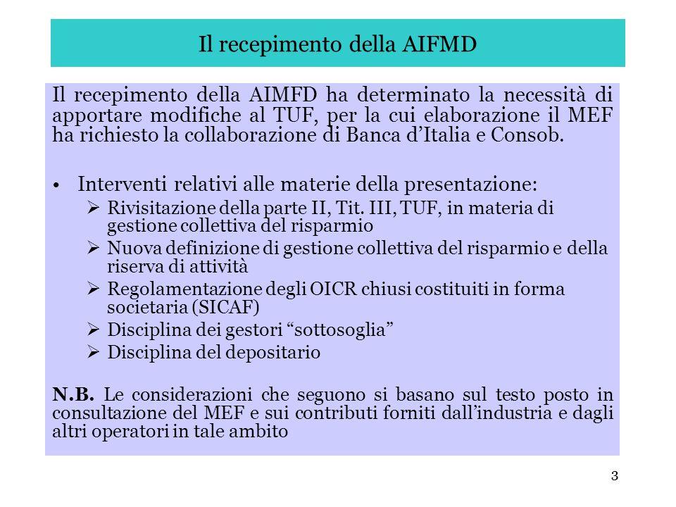 Il recepimento della AIFMD