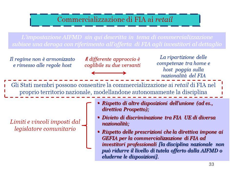 Commercializzazione di FIA ai retail