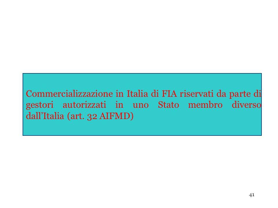 Commercializzazione in Italia di FIA riservati da parte di gestori autorizzati in uno Stato membro diverso dall'Italia (art.