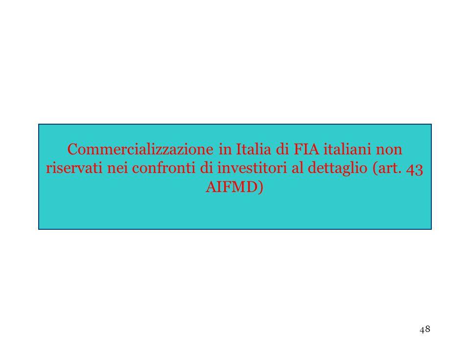 Commercializzazione in Italia di FIA italiani non riservati nei confronti di investitori al dettaglio (art.