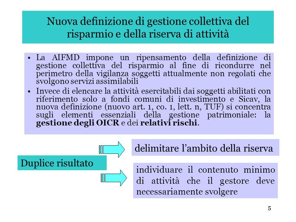Nuova definizione di gestione collettiva del risparmio e della riserva di attività