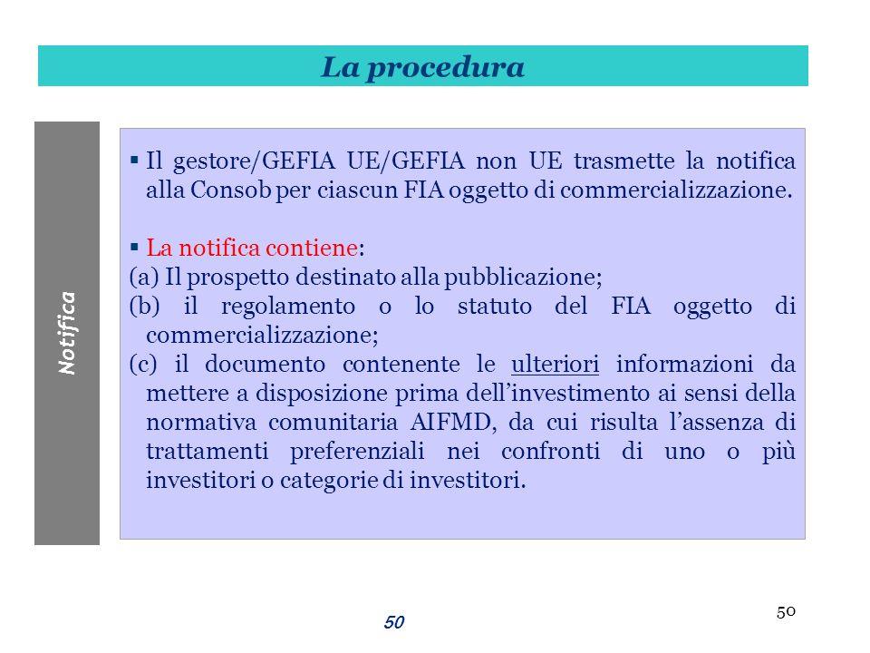 La procedura Notifica. Il gestore/GEFIA UE/GEFIA non UE trasmette la notifica alla Consob per ciascun FIA oggetto di commercializzazione.