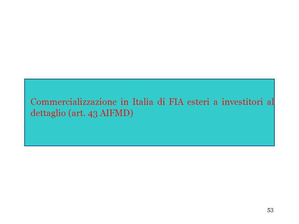 Commercializzazione in Italia di FIA esteri a investitori al dettaglio (art. 43 AIFMD)