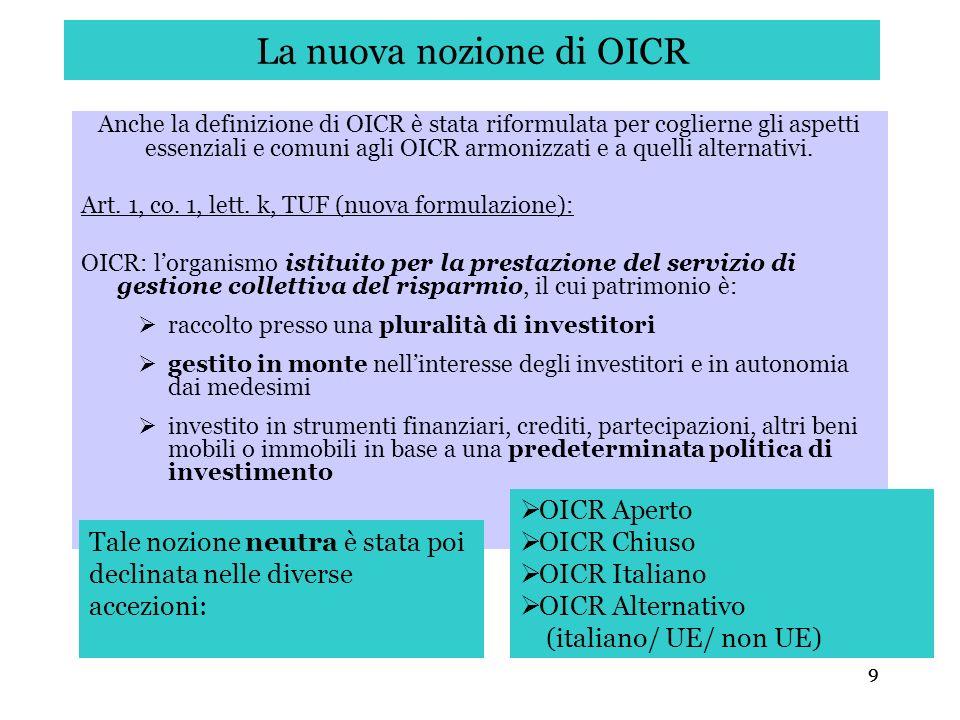 La nuova nozione di OICR