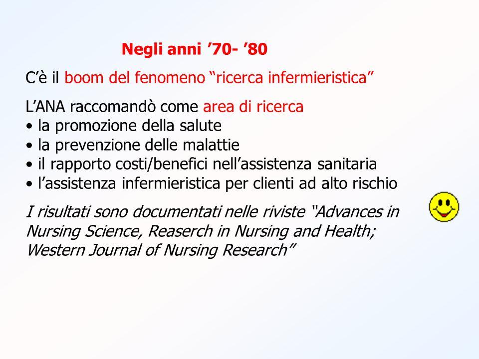 Negli anni '70- '80 C'è il boom del fenomeno ricerca infermieristica L'ANA raccomandò come area di ricerca.