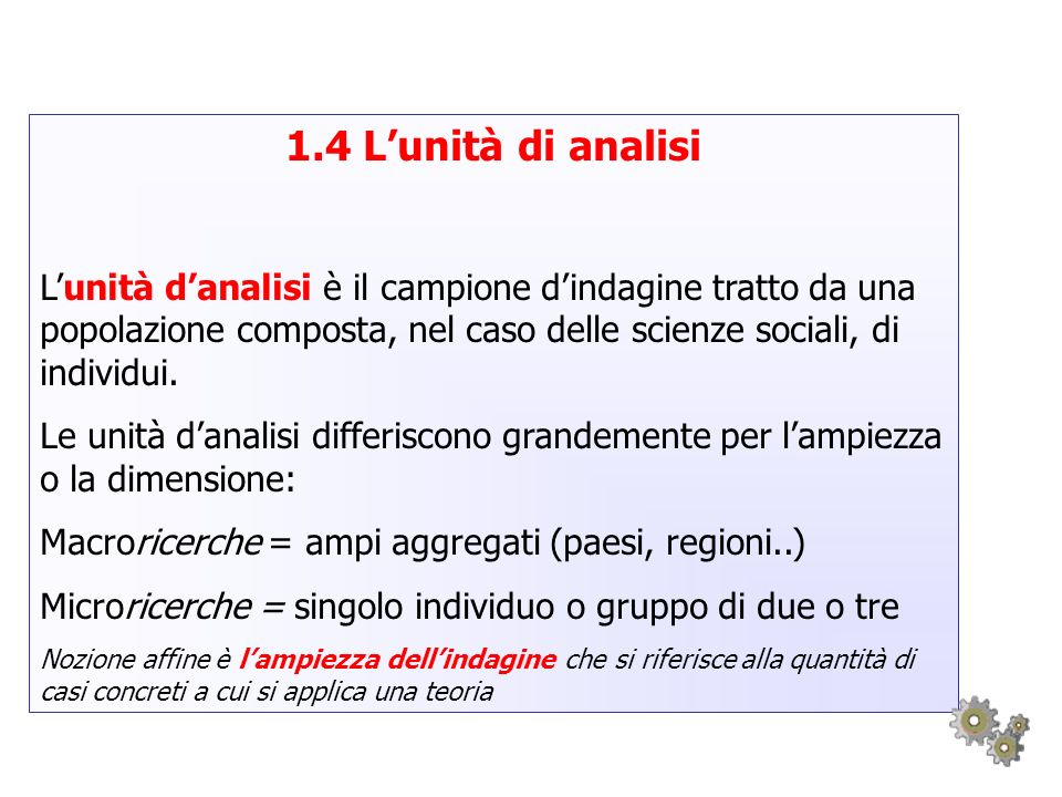 1.4 L'unità di analisiL'unità d'analisi è il campione d'indagine tratto da una popolazione composta, nel caso delle scienze sociali, di individui.