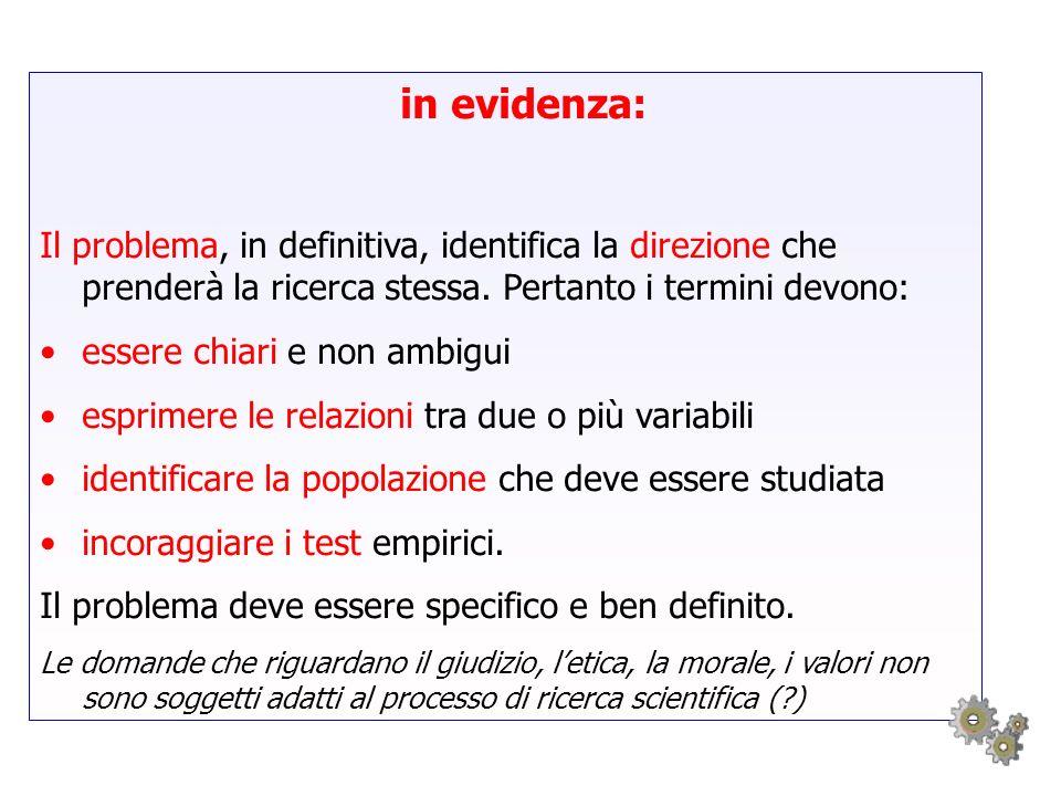 in evidenza: Il problema, in definitiva, identifica la direzione che prenderà la ricerca stessa. Pertanto i termini devono: