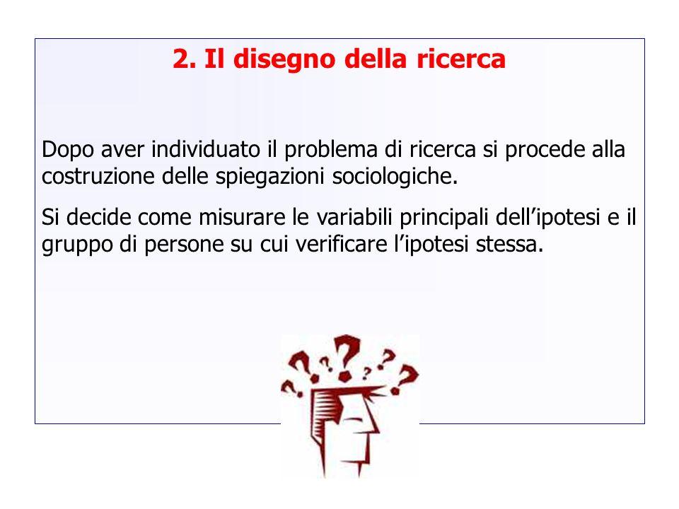 2. Il disegno della ricerca