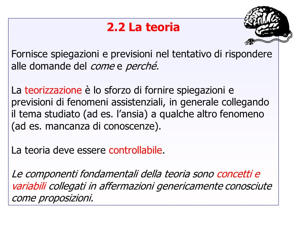 2.2 La teoria Fornisce spiegazioni e previsioni nel tentativo di rispondere alle domande del come e perché.