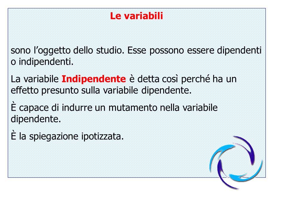 Le variabili sono l'oggetto dello studio. Esse possono essere dipendenti o indipendenti.