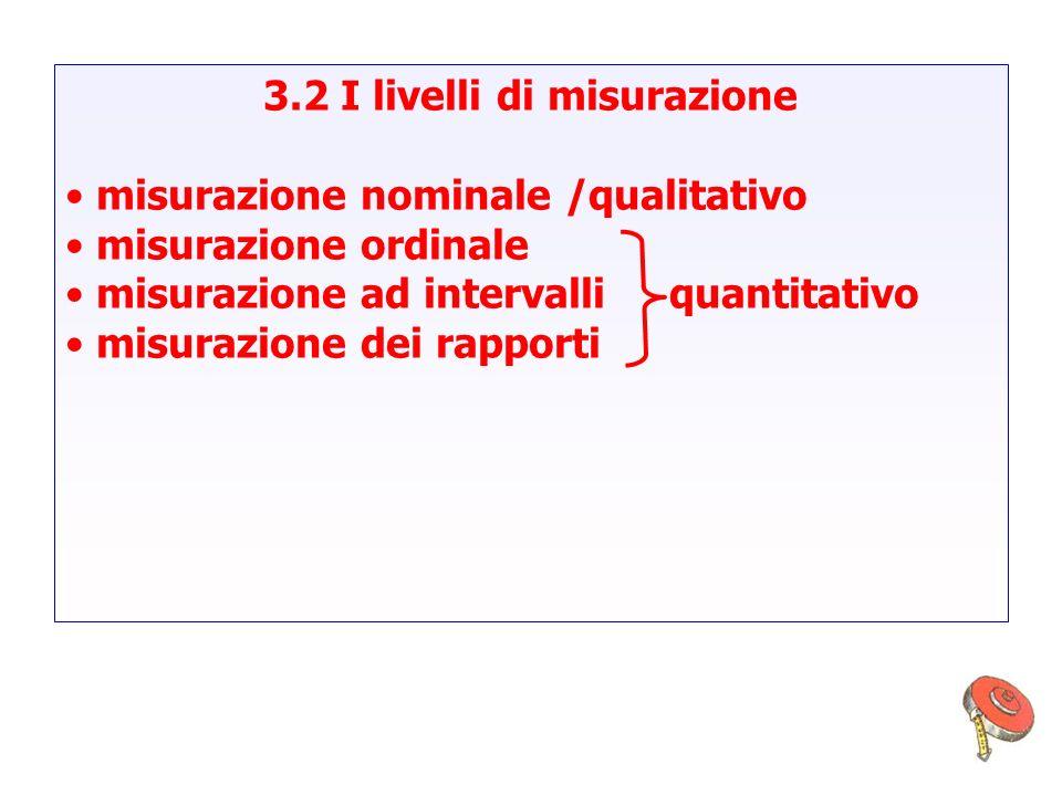 3.2 I livelli di misurazione