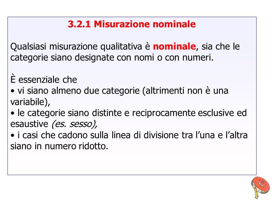 3.2.1 Misurazione nominale Qualsiasi misurazione qualitativa è nominale, sia che le categorie siano designate con nomi o con numeri.