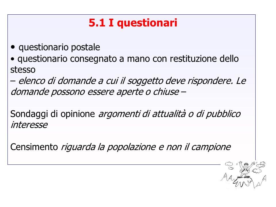 5.1 I questionari questionario postale