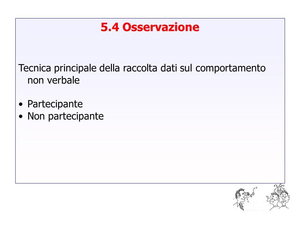 5.4 Osservazione Tecnica principale della raccolta dati sul comportamento non verbale. Partecipante.