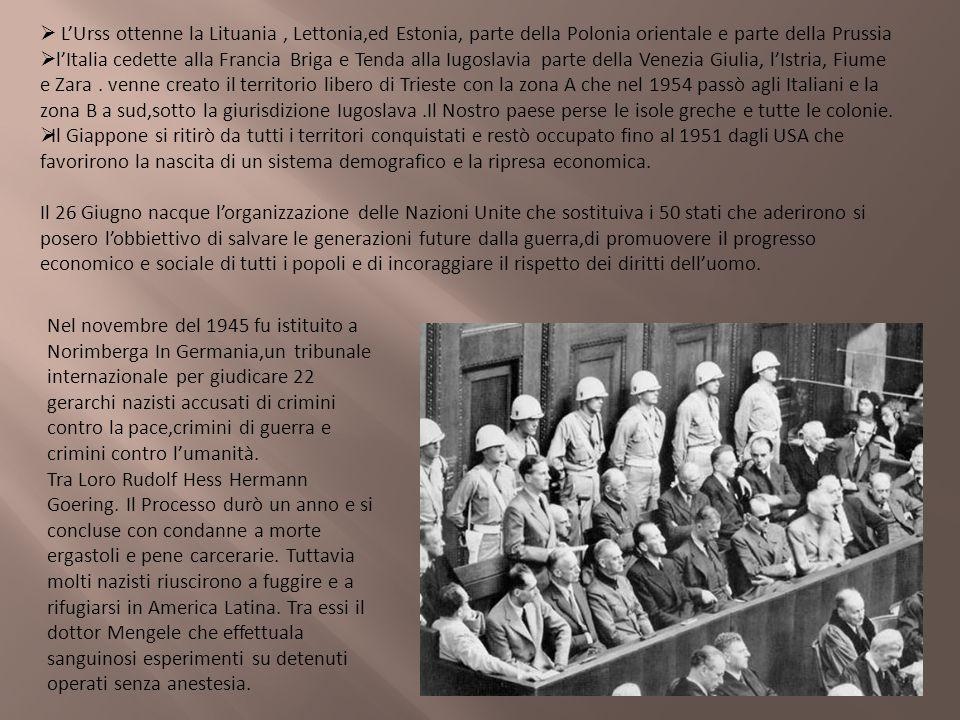 L'Urss ottenne la Lituania , Lettonia,ed Estonia, parte della Polonia orientale e parte della Prussia