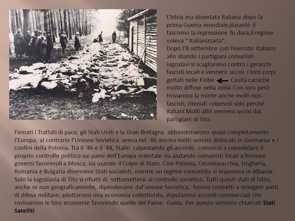 L'Istria era diventata Italiana dopo la prima Guerra mondiale,durante il fascismo la repressione fu dura,il regime voleva Italianizzarla .